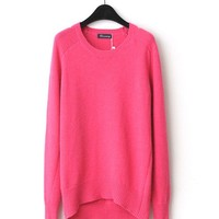 Rhodo Knit Jumper with Raglan Sleeves and Dip Hem