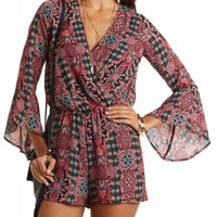 Printed Bell Sleeve Romper by Charlotte Russe - Black Combo