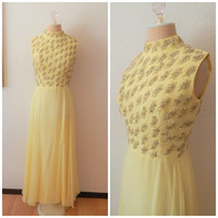 Vintage Midcentury Modern Yellow Buttercup Rhinestone Formal Cocktail Dress Small