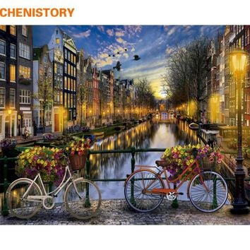 CHENISTORY Modern City Night DIY Painting By Numbers Kit Acrylic Paint By Numbers Wall Art Picture For Home Decoration 40x50cm
