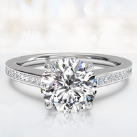 2.38ct G-VS2 Round Diamond Engagement Ring 18kt White Gold JEWELFORME BLUE