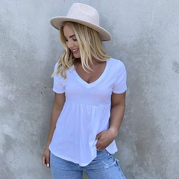 Cotton Babydoll Tunic Top in White