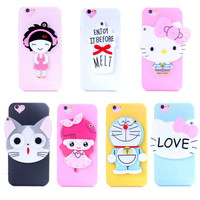Cute 3D Cartoon Hello Kitty Cat Ice Cream Rotatable Mirror Design Fundas Capa TPU Phone Cases Cover For iPhone 6 6G 6S 4.7