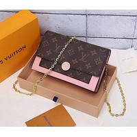 Louis Vuitton LV Women Shopping Leather Crossbody Satchel Shoulder Bag pink