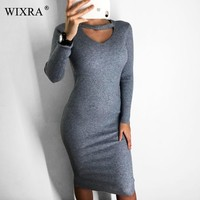 Wixra Autumn Winter Halter Long sleeve V-Neck Knitted Sweater Dresses Casual WomenBodycon Dress For Women