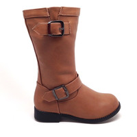 Tan Vegan Leather Boots for Girls with Buckle Detail