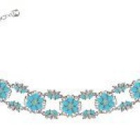 Dramatic Bracelet by Lucia Costin with Leaves, Flowers and Filigree Pattern,