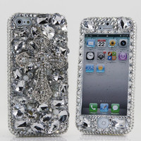 iPhone 5 5S 5C 4/4S and Samsung Galaxy S3 S4 Note 2 3 Handcrafted Case Cover 3D Luxury Bling Crystal Diamond Silver Cross Clear Gem_212