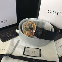 Gucci Leather belt with interlocking G buckle Unisex