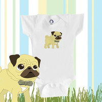 Organic baby clothes, pug Onesuit, cute pug wearing a bowtie, baby boy or girl, eco-friendly
