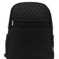 Solid Black Quilted Backpack