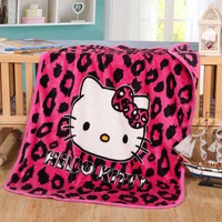 Hello Kitty Coral Fleece Fabric Blanket Home Textile on Bed Sofa Minions 100x140cm Blanket for Kids Baby Sleeping As Gift