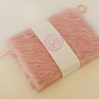 A6 small baby pink fur notebook