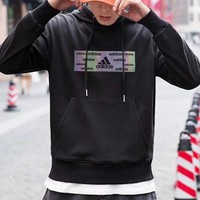"""""""Adidas"""" Casual Unisex Fashion Laser Letter Pattern Long Sleeve Hooded Sweater Hoodie Tops"""
