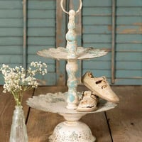 Distressed Vintage Style French Country Ruffled Two-Tier Tray