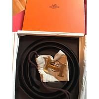 women's Hermes 32mm reversible leather belt with H buckle 75cm Brand New In Box
