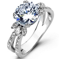 Simon G. Spit Shank Diamond Engagement Ring with Marquise Flower Like Details Featuring 0.16 Carats of Round Diamonds and 0.28 Marquise Cut Diamonds