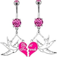 Broken Heart Best Friends With Sparrow Belly Ring -Sold as a set