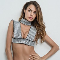 Sexy Pearl Embellished Hollow Out Top