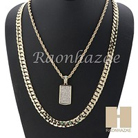"MEN DOG TAG ROPE CHAIN DIAMOND CUT 30"" CUBAN LINK CHAIN NECKLACE S05G"