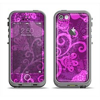 The Bright Pink & Purple Floral Paisley Apple iPhone 5c LifeProof Fre Case Skin Set