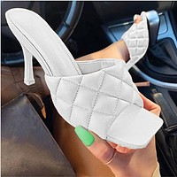 New  2020 high heels square spring and summer style sandals slippers White