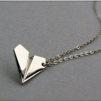 Paper Airplane Necklace . Silver Pa.. on Luulla