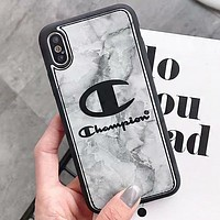 Champion New fashion letter leather couple protective case phone case Gray
