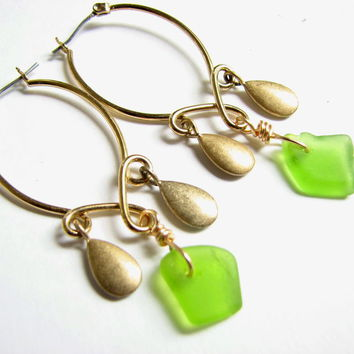 Gold Sea Glass Chandelier Earrings