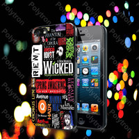 Broadway Musical Collage Poster Design case for iPhone 4, 4S, 5, 5S, 5C and Samsung Galaxy s2, S3, S4