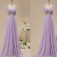 Purple chiffon prom dresses pageant dress ball gown, long wedding party dress bridal gown graduation gown