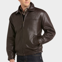 JOSEPH & FEISS BROWN LAMBSKIN LEATHER BOMBER CLASSIC FIT JACKET