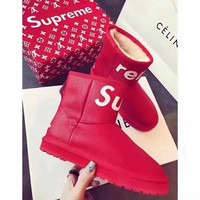 Supreme Women Leather Fur Winter Snow Boots In Tube Boots Shoes