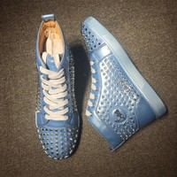 Cl Christian Louboutin Louis Spikes Mid Style #1804 Sneakers Fashion Shoes - Sale