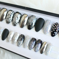Glitter Chrome Press on Nails | Matte Black | Swarovsi Crystals | Glitter | Studded | Mirror Powder | Handpainted Nail Art | Any Shape Size