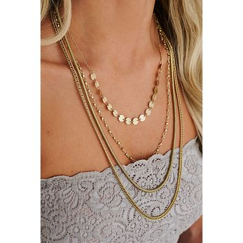 Going For Gold Layered Necklace (Antique Gold)
