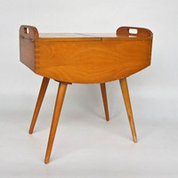 Mid Century Wooden Sewing Box / Coffee Table / Light Brown Wood