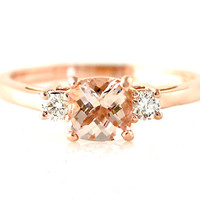 14K Rose Gold Morganite Diamond 3 Stone Cushion Morganite Engagement Ring Custom Bridal Jewelry