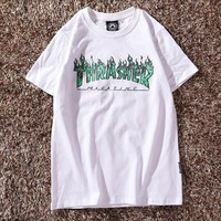 THRASHER Summer Trending Women Men Casual Flame Letter Print T-Shirt Top White