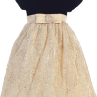 Gold Corded Tulle Girls Holiday Dress with Black Velvet Bodice 3M-10