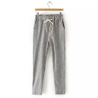 Gray Stripe Drawstring-Waist Pants With Pocket