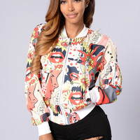 Pop Culture Bomber Jacket - Black