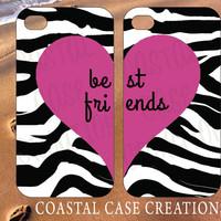 Apple iPhone 4 4G 4S 5G Hard Plastic or Rubber Cell Phone Case Cover Original Trendy Stylish Best Friends Pink Heart ZebraDesign
