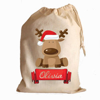 Christmas cotton drawstring gift bags and santa sack stocking Cute Reindeer with banner personalise with any name
