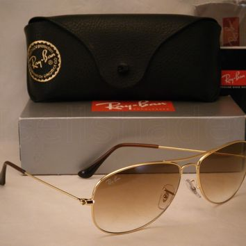 Clearance Ray Ban 3362 Cockpit Gold w Brown Gradient Lens (RB3362 001/51 59mm)