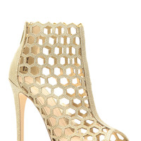 Gold Glitter Piped Cut Out Peep Toe Heels