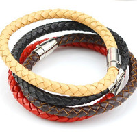 Light brown mustard braided leather bracelet with magnetic clasp