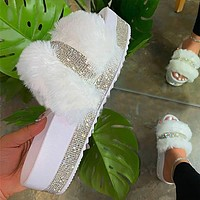 2020 New Products Women's Large Size Rhinestone Furry Slippers Platform Slippers Shoes