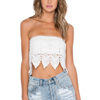 GLAMOROUS Lace Crop Top in White