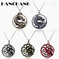 Hip Hop Jewelry Necklace for men Game of Throne Punk Dragon Necklace Link Chain Vintage Accessories Colar Collier